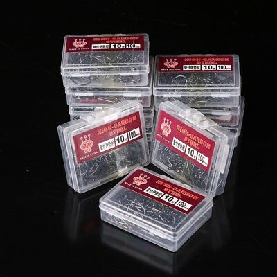 100 PcsCrochets De Pêche Jig Big Hook High Carbon Steel Bait Holder Fishhook Box