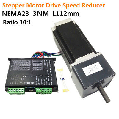 30NM NEMA23 L112mm Geared Stepper Motor + Drive Controller with Reducer for CNC