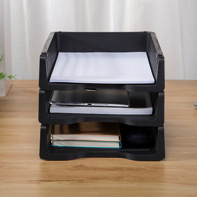 3pcs Three-color Acrylic Stackable A4 Paper Trays Set Organizer Desk Storage