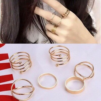 6 PCS Latest Fashion Punk Stack-able Midi Ring Sets For Women UK SHIPPING