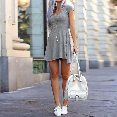 Women O-neck Short Sleeve Solid Color Hem Loose Casual Mini Dress B