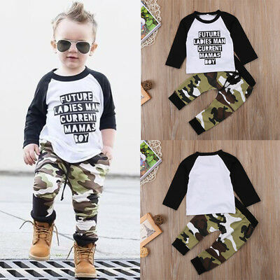 Toddler Kids Baby Boys Long Sleeve T-shirt Camouflage Pants Outfits Clothes Set