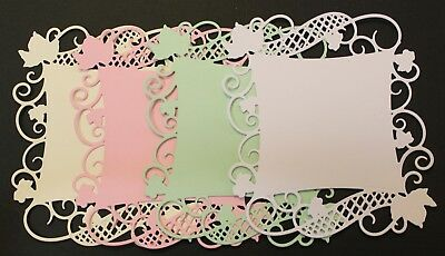 4 Spellbinders Curved Square Vine Leaves Flourish Ornate Die Cuts Card Toppers