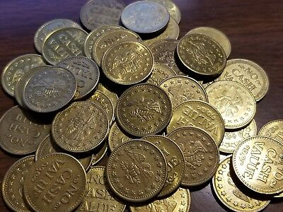 Lot of 50 No Cash Value Brass Tokens - Eagle, Size .880