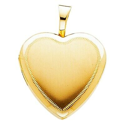 20mmX20mm 3.1gm Beautiful Heart Locket Charm Pendant Real Solid Yellow 14K Gold