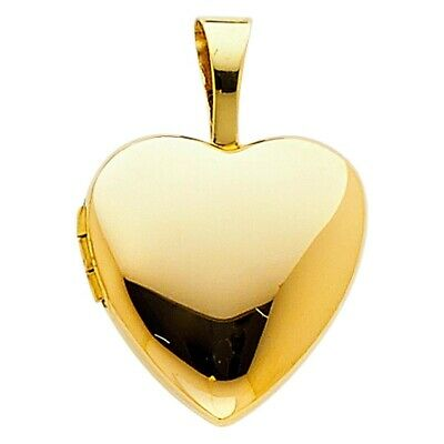 14K Yellow Gold Real Solid Beautiful Heart Locket Charm Pendant 13mmX13mm 1.2gm