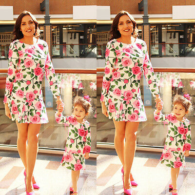 Fashion Mother and Daughter Matching Floral Dress Summer Sundress Clothes New