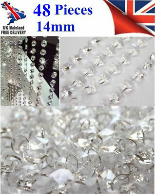48pcCHANDELIER LIGHT CRYSTALS DROPLETS GLASS BEAD WEDDING DROPS 14MM PRISM PARTS