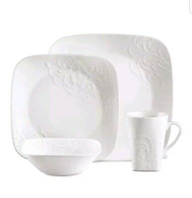 CORELLE SQUARE 16-PIECE Dinnerware Set Timber Shadows Service for 4 ...