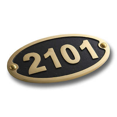 Personalised Traditional Oval House Number Plate Sign In Cast Brass