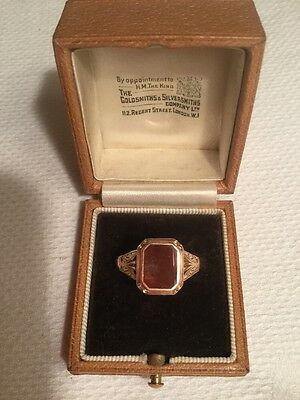 FINE VICTORIAN 9CT GOLD SET CARNELIAN SIGNET RING c1890. SIZE T1/2 SUPERB COND.
