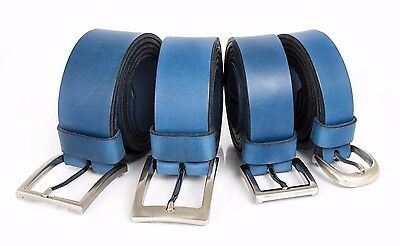 High quality handmade Blue leather belts, available in 4 different widths