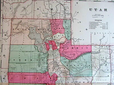 Utah state by itself large c.1880-90's Lithographed Hand Color Old Map
