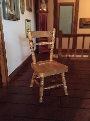 1 12th scale  WOOD PINE KITCHEN Chairs X2  country   Cottage DOLLSHOUSE