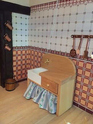 1 12th scale  WOOD PINE KITCHEN sink country style   DOLLS HOUSE
