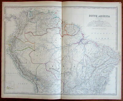 South America w/ unknown & unexplored c.1885 huge engraved Hand Color Old Map