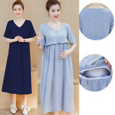 V-neck Dress Nursing Breastfeeding Maternity Mid-calf Ruffles Cute M/L/XL/2XL