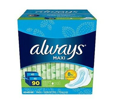 Always Maxi Long Super Pads with Wings (90 ct.) NEW FREE SHIPPING!!