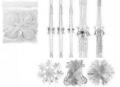 White Silver Christmas Foil Decoration Garlands, Bells, Stars, Snowflakes,