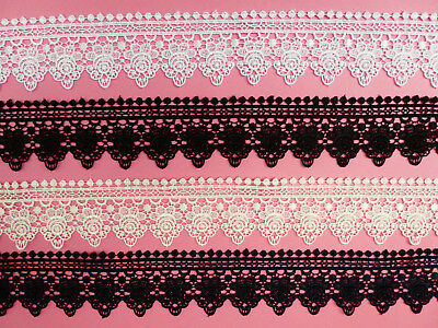 "Intricate Rose Guipure Lace Trim 2""/5.5cm White Ivory Black Navy Blue PER METRE"