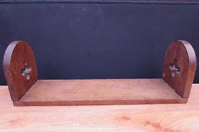 Antique Arts And Crafts Solid Oak Book Slide Shelf  Early 20Th Century Edwardian