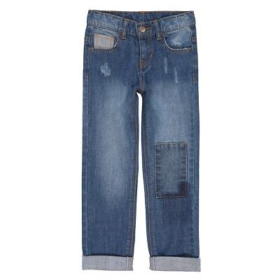 Boys Straight Leg Jeans With Patches, 3-12 Years
