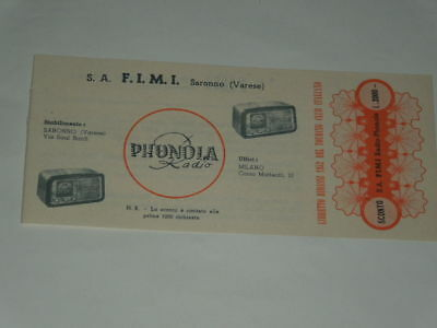 Phonola Radio Sconto Del 1952 Da Libretto Ribassi Touring Club Italiano