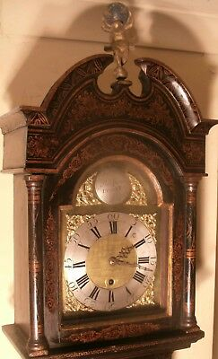 "Antique Black Lacquered "" Dysart "" Slim Longcase / Grandfather Clock"