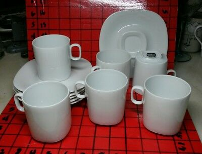Block Langenthal TRANSITION WHITE Coffee Cups & Saucers Set of 6 Switzerland