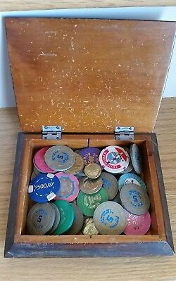 Antique Vintage Hand Crafted Solid wood CASINO Box and Old Casino chips