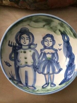 "Vintage M.A. Hadley Pottery Large Serving Bowl 11"" X 31/4""  Farmer & Wife"