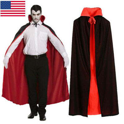 Vintage Unisex Cape Halloween Vampire Cloak Medieval Witch Cosplay Costum Mantle