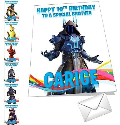 FORTNITE CHARACTER BIRTHDAY Card Personalised Season 9 8 Any NAME AGE  RELATION