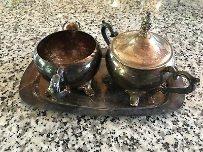International Silver Company Cream, Sugar Bowl with Lid, And Tray