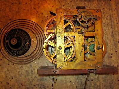 antique weight driven clock movement & coil gong lot #104