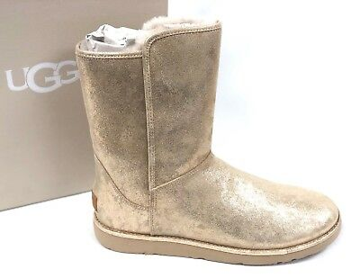 53607cb3275 UGG AUSTRALIA WOMEN'S ABREE SHORT II STARDUST METALLIC GOLD SUEDE BOOT  1092433