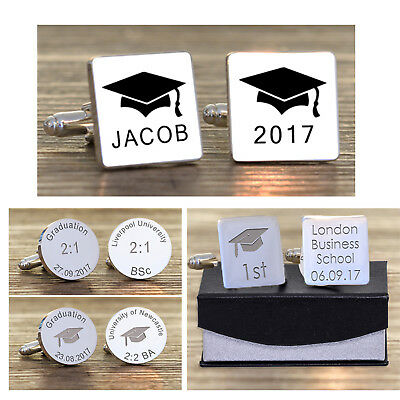 Personalised Graduation Cufflinks - Engraved Silver Plated Cuff Links Gift Boxed