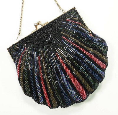 VINTAGE Beaded Evening Bag Pouch Black Shell Chain Prom Bridal Purse Sparkly