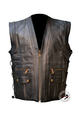 Men's Leather Motorcycle Vest Leather Biker Hunters Style S To 6XL Custom L-454