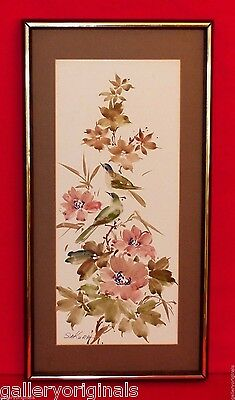 Vintage Japanese Birds Spring Flower Blossoms Watercolor Painting Signed Sakura