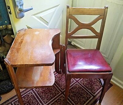 Very Old Unique HINGED Telephone / Gossip Chair Table