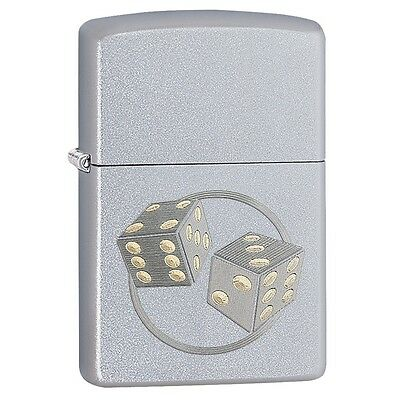 Zippo 29412, Tumbling Dice, Satin Chrome Finish Lighter, Pipe Insert (PL)