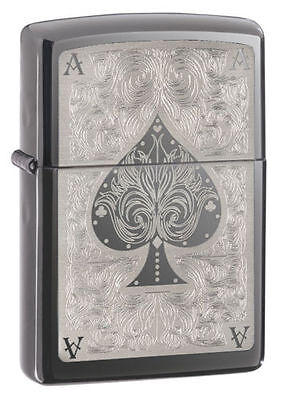 Zippo 28323, Ace of Spades, Black Ice Chrome Finish Lighter, Pipe Insert (PL)
