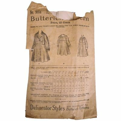 Antique 1900s Butterick Pattern Girls Empire Coat 9034 Delineator Style