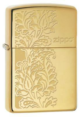Zippo 29609, Paisley Design, High Polish Brass Finish Lighter, Pipe Insert (PL)