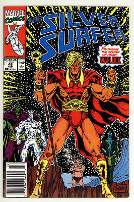 Silver Surfer 46 - Thanos - Return of Warlock - Copper Age - Newsstand - 8.0 VF
