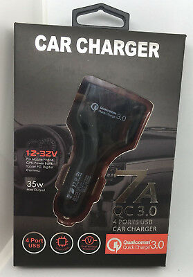 QC3.0 7A Quick Charge 4 Port USB Charger Fast Car Charger For iPhone/Samsung UK