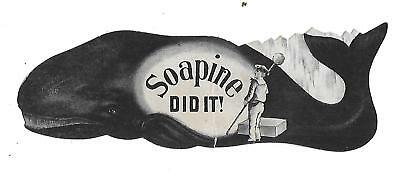 1870's-80's Die Cut Whale, Soapine Soap #2 Victorian Trade Card