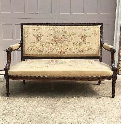 Antique French Louis XVI Settee w/ Original Aubusson Tapestry Fabric, 19th C.