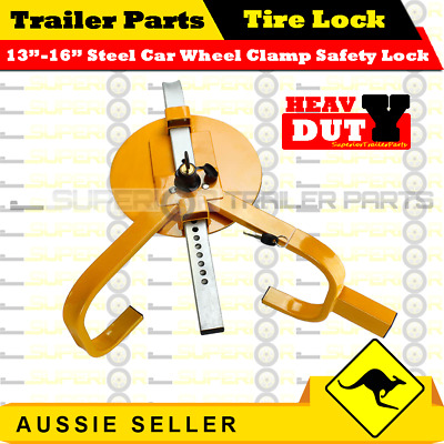 "Heavy Duty 13""–16"" Steel Car Wheel Clamp Safety Lock Trailer Caravan - Superior"